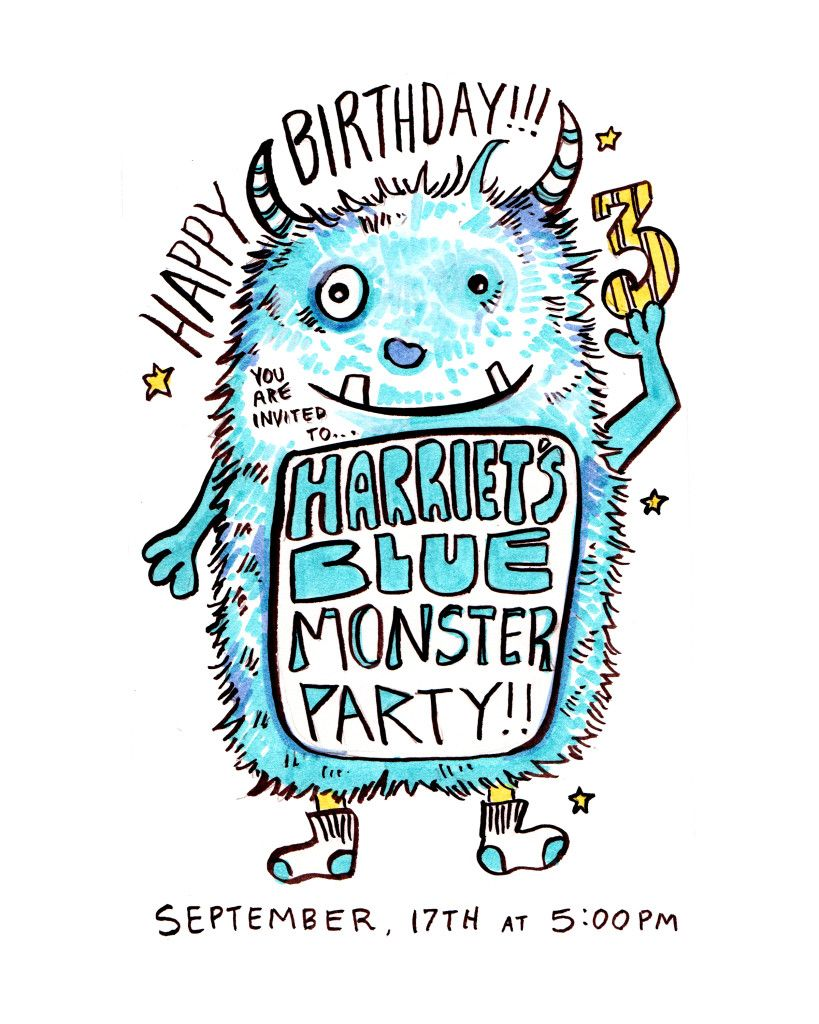 Harriets blue monster 3 year old birthday